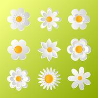 White paper art flowers set vector