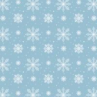 Blaues Schneeflockemuster. Weißes Schneeflockenmuster auf blauem Hintergrund