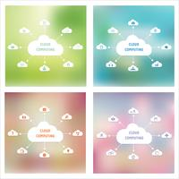 Vector cloud computing-technologie abstract schema