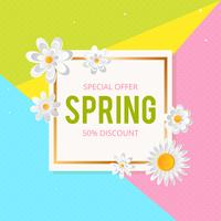 Fond de vente de printemps avec belle fleur colorée. Illustration vectorielle template.banners.Wallpaper.flyers, invitation, affiches, brochure, remise de bon d'achat.