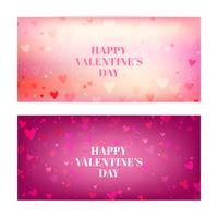 Día de San Valentín borrosa pancartas con corazones y bokeh