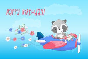 Cute Cartoon Raccoon is flying on a plane