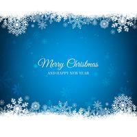 Blå jul bakgrund med vit snöflingor gräns