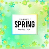 Banner di vendita di primavera con fiori di carta su uno sfondo giallo e rosa