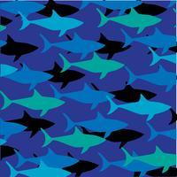 Patrón de tiburón en capas sobre fondo azul