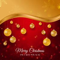 Merry Christmas golden and red background with gold Christmas balls