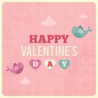 Ilustración retra del día de tarjeta del día de San Valentín con los pájaros y las nubes del amor. Tarjeta rosada del día de tarjetas del día de San Valentín del vintage