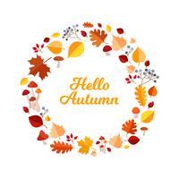 Hello autumn leaves frame