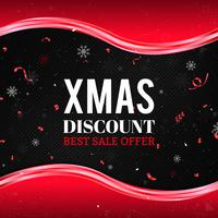 Red Christmas sale background with snowflakes, confetti and abstract waves