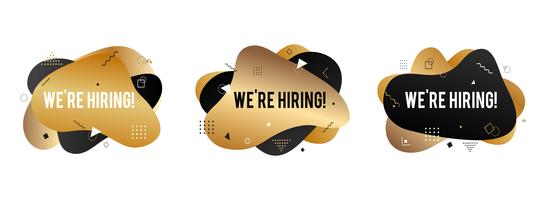 We're hiring banner. Hire sign. Searching new job concept. Abstract liquid shape. Fluid design. Gold and black