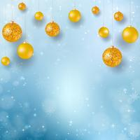 Abstract Christmas background with snowflakes. Blue Elegant Winter background with gold baubles