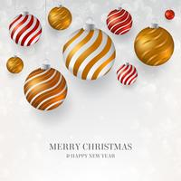 White Christmas background with red, gold and white Christmas baubles. Elegant light Christmas background with gold, red and white evening balls