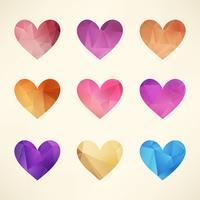 Geometric hearts. Diamond hearts shapes set
