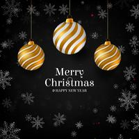 Vector illustration of merry christmas gold and black colors place for text, gold christmas balls, golden glitter baubles and confetti