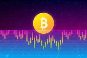 Bitcoin background. financial chart, bitcoin coin, futuristic background with growth charts