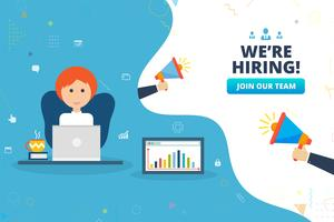 We're hiring, recruiting concept with business female at her desk