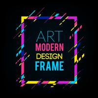 Dynamic frame with stylish colorful abstract geometric shapes on a black background