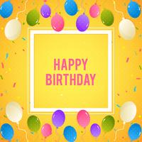 Colorful Birthday background with balloons and confetti vector