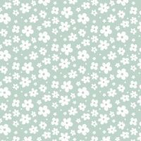 Flores brancas sobre fundo verde vetor