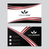 Modern simple business card vector template.Creative and Clean Double-sided Business Card Template. Red and Black Colors. Flat Design Vector Illustration. Stationery Design