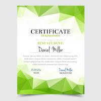 Certificate template with green geometric elegant design, Diploma design graduation, award, success.