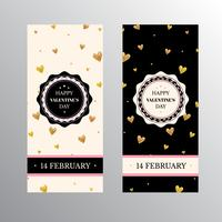 Valentines Day banners with gold glitter hearts