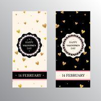 Banners de dia dos namorados com corações de glitter dourados