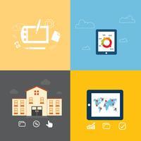Satz flache Konzeptdesignikonen für Bildung, Training, Social Media