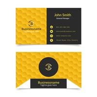 Yellow honeycomb business card vector