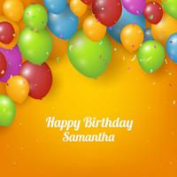 Realistic Happy birthday background with balloons and confetti