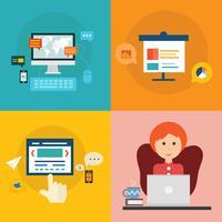 Satz flache Konzeptdesignikonen für Bildung und Training