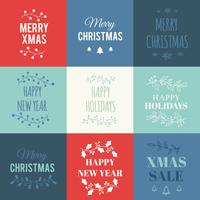 Christmas cards set with typography