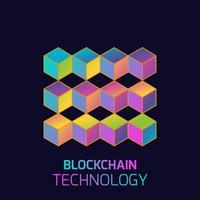 Blockchain teknik koncept. Kubiska noder kopplade av kedjan. Isometrisk vektor illustration av distribuerad databas för kryptering, virtuella pengar, säker e-business eller webbsäkerhet.