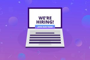 We're hiring concept.  Business recruiting concept with laptop  and hiring message