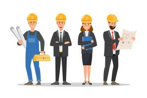 architect, foreman, engineering construction worker in different characte vector