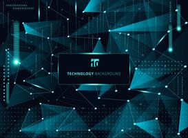 Abstract technology blue triangles and low polygon with lines connecting dots structure and elements on dark background. vector