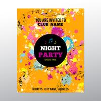 Party poster with ink splashes and musical notes