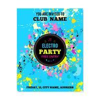 Cartaz de festa com salpicos de tinta e notas musicais