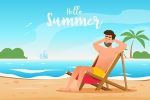 concepto de verano. un hombre yace en una tumbona en la hermosa playa