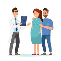 Doktor, der der schwangeren Frau und ihrem Ehemann Ultraschallblatt am Krankenhaus zeigt.