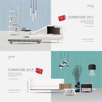 2 banner meubels verkoop ontwerpsjabloon vectorillustratie
