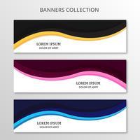 Bannières commerciales abstraites. Collection bannières design wave moderne, fond coloré. illustration vectorielle