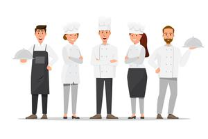 Group of professional chefs, man and woman chefs. Restaurant team concept.