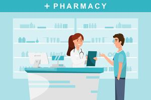 pharmacy with pharmacist and client in counter. vector