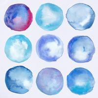Watercolor round labels collection