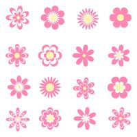 Pink flowers icons set