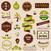 Eco conjunto de elementos de design de natureza, rótulos e emblemas