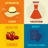 Conjunto de vectores ilustraciones de concepto de diseño plano con iconos de viajes y vacaciones