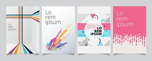 Set template geometric covers design, gradient colorful halftone with lines pattern background