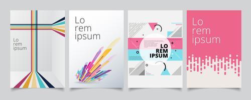 Ange mall geometriska täcker design, gradient färgglada halvton med linjer mönster bakgrund